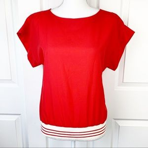 Judy Bond Vintage Red Blouse with Striped Waist
